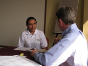 Tim Magee in a workshop on Sustainable Development Projects with a participant